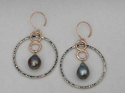 Organic Circles with Tahitian Pearls