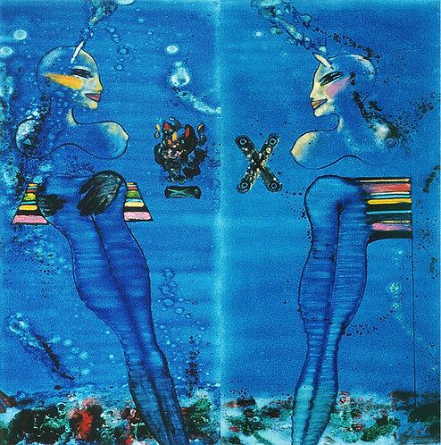 """Water1-2"" Diptychon, 120x120cm,2003"