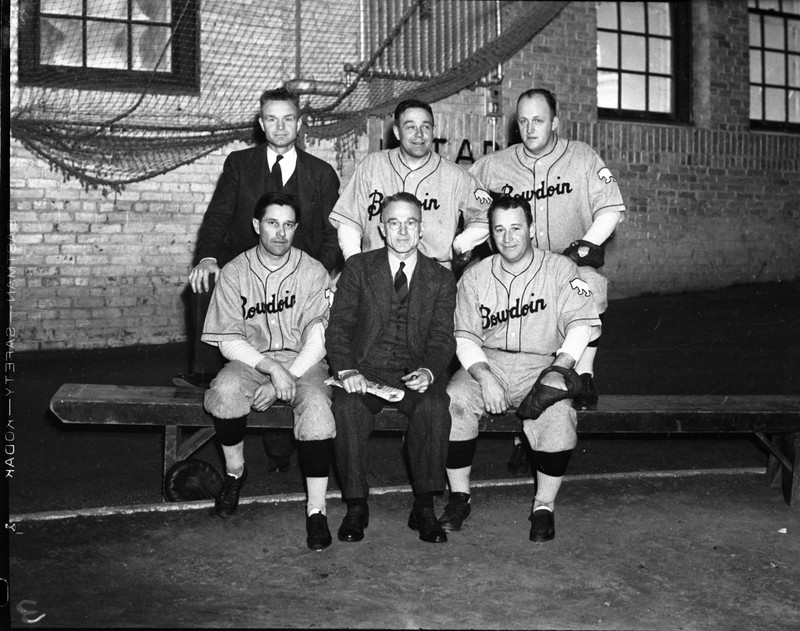 Group photo of Irving Hadley (Bump), Lawrence Gardiner (Larry), Neil T. Mahoney, Donald Brennan, Alderic Gaudette (Bucky), and Lin S. Wells at the Bowdoin Baseball school.