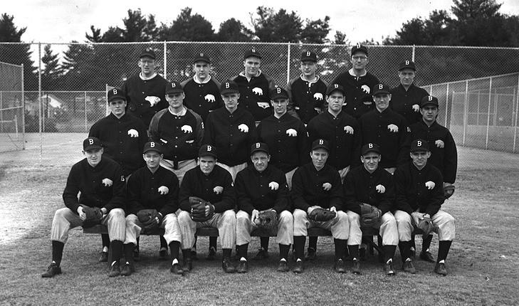 photo of Bowdoin 1950 baseball squad: Ralph Atwood (Bowdoin 1950), Jack Feehan (Bowdoin 1950), Burleigh Barnes (Bowdoin 1951), Bob Graff (Bowdoin 1950), Don Reimer (Bowdoin 1949), Hank Daley (Bowdoin 1951), Jim Decker (Bowdoin 1951)  Second Row: John Morrell (Bowdoin 1952), Dick Drisko (Bowdoin 1951), Merle Jordan (Bowdoin 1952), Art Bishop (Bowdoin 1952), Jim Fife (Bowdoin 1951), Charlie Ericson (Bowdoin 1952), Andy Lano (Bowdoin 1952)  Third Row: Charlie Kerr (Bowdoin 1951), Bill Cockburn (Bowdoin 1952), Warren Ross (Bowdoin 1952), George Winius (Bowdoin 1950), Joe Gauld (Bowdoin 1951), Bernie Johnson (Bowdoin 1951)  Absent: Jack Clarke, Tom Magoun (Bowdoin 1952) , Bob Speirs (Bowdoin 1950)