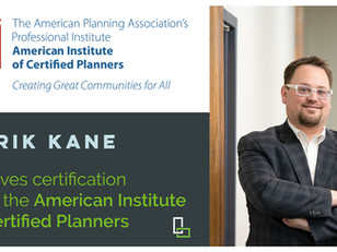 Derik Kane Receives AICP Certification