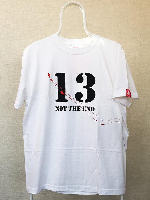 """オリジナルカスタム アート ペイント T-シャツ、""""13 NOT THE END"""" 白"""