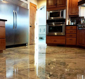 metallic swirl kitchen flooring