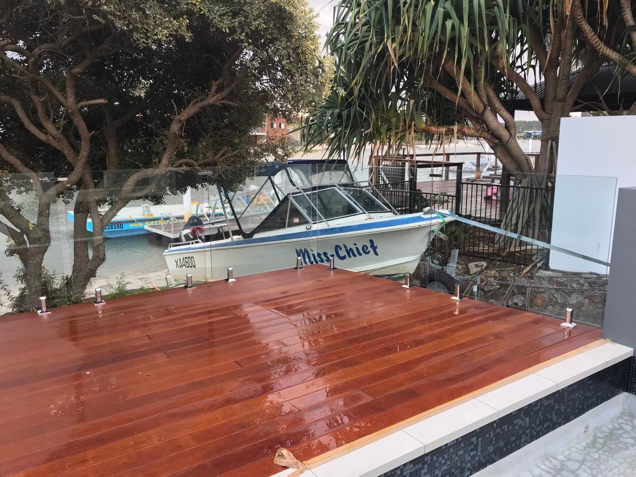 Glass pool fence mooloolaba decking