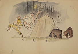 Tent in centre with two brown bears at right. One bear has his head inside the tent through a flap. At left, a man in yellow pajamas and a woman in a nightgown are leaping out of the tent. Trees and dark sky behind.