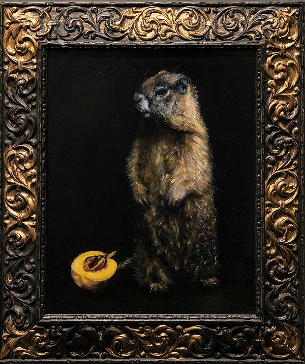 Marmot with half peach.