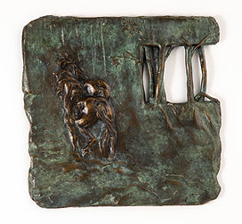 Relief featuring two horses at left moving away from the viewer. At right is �window� with 5 vertical bars [trees?]. Relief has soft texture all over. Green tinged bronze. Inscription at bottom edge reads �lois 2012 6/6�. Two loops carved at back and threaded with short length of wire for hanging.