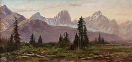 Purple-grey mountain range in background, green meadow with scattered conifers in foreground. Yellow-pink sky above. �TM. MARTIN RCA� in red along bottom edge. In silver painted wooden frame with carved floral pattern along edge. White linen mat. Glass at back of frame to show artist�s writing. White label from Masters Gallery Ltd. below.
