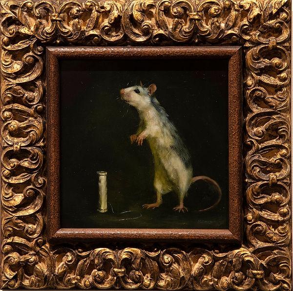 Rat with spool of thread.