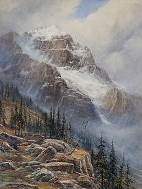 Mountain scene with rocky cliff interspersed with stands of conifers at left foreground. Large mountain [Mt. Stephen] with snow filled central gully and snow-capped peak in background. Signed �Thos W. Fripp 1925� at bottom left.