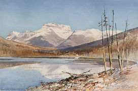 Mountain landscape with large glassy lake in centre of painting. Abstract foliage and stand of dead trees in foreground at right. Brown treed slopes on opposite shore with large snow-capped mountains in distance. Small white and red buildings on far shore of lake.   Title written in bottom left corner. �F.M. Bell-Smith 1887� at bottom right.