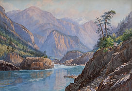 River winding through rocky mountains. River is calm in foreground and rougher in background. 4 figures on beach with two canoes at center right. Another figure with white pack horse on rocky outcrop above. Mountains primarily brown and grey with one snowcapped peak in distance. Trees and other shrubbery on rocky outcrop at right and on slopes at left and center distance. �CJ (overlapping) Way YALE BC� in red at lower right. In ornately carved gold painted wood frame with glass. White tag from Masters Gallery Ltd. on back.