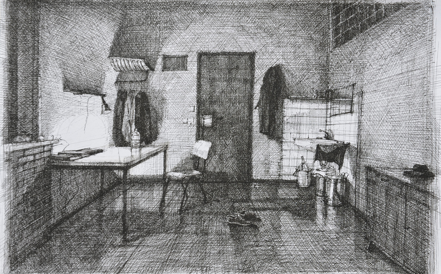 The Artist's Room, 38.5x56.0cm, ink on p