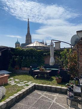 Unsere Gartenterrasse - Ihr Seminarraum mit Blick auf den Stephansdom