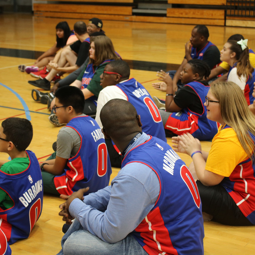 Young athletes participating in Pistons Trivia