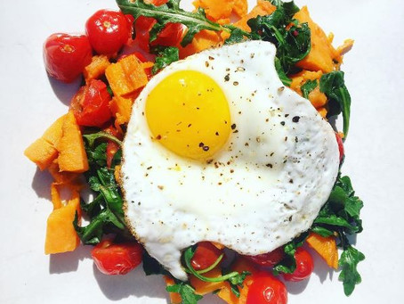 SWEET POTATO TOMATO BASIL HASH