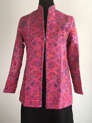 Fine Wool Short Kani Weave Jacket with zari