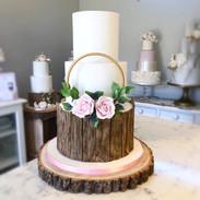 Oak log effect with floral hoop