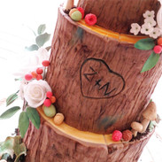 Bride and grooms carved initials