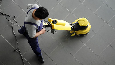 Janitorial service cleaning floors