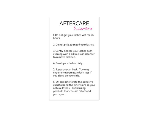 Aftercare Cards Pink x 10
