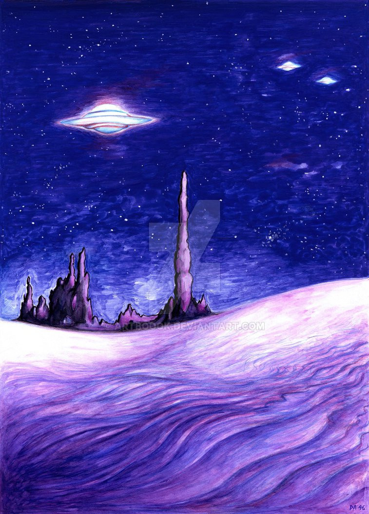 Art by ARTBOOOK: https://artboook.deviantart.com/art/Blue-UFO-Night-Art-Painting-Drawing-Illustration-277191465