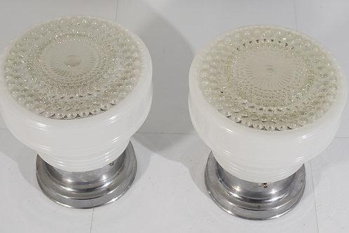 Pair of Art Deco Flush Mounting Light Fixtures Ca 1940s