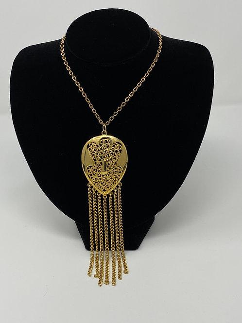 Gold Tone Large Pendant with Fringe 60s-70s