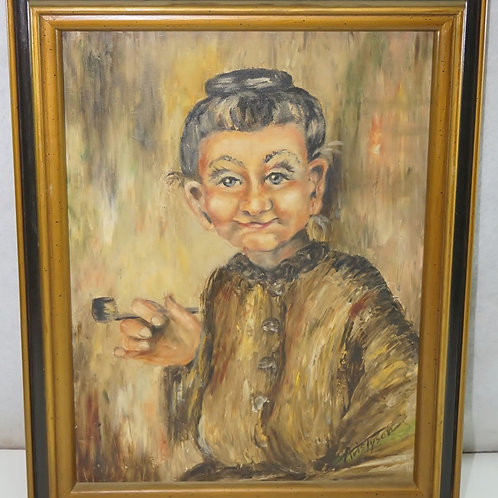 Old Woman Smoking Pipe Painting - Signed