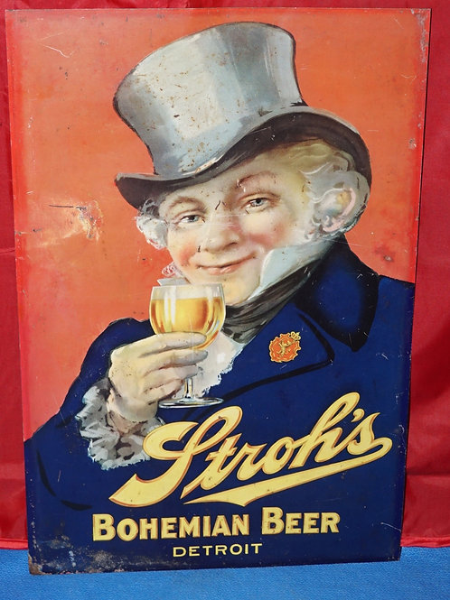 Stroh's Bohemian Beer - Tin Advertising Sign