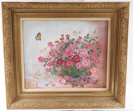Oil Painting - Flowers And Butterfly In Beautiful Gilt Frame
