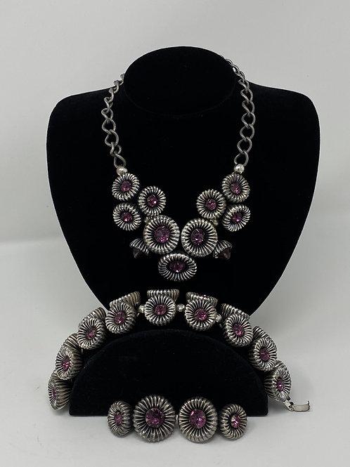 Bold Napier Purple Rhinestone Set Necklace, Bracelet and Earrings
