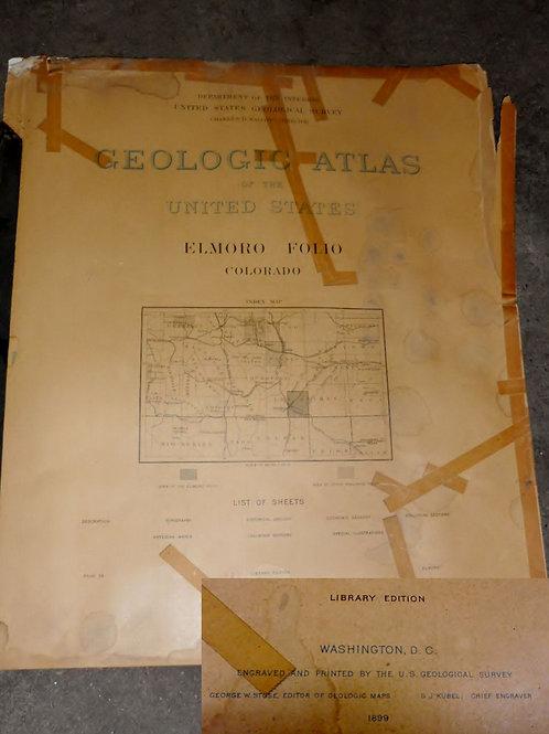 """1899 Geologic Atlas """"El Moro Colorado"""""""