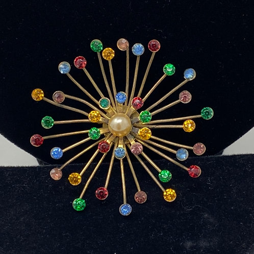 Multi Color Rhinestone Brooch with a Faux Pearl