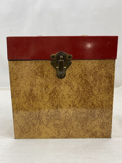 Vintage Metal 45 RPM Record Case Red andTan Plastic Red Handle with Records