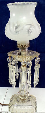 Crystal Table Lamp With Etched Glass Shade