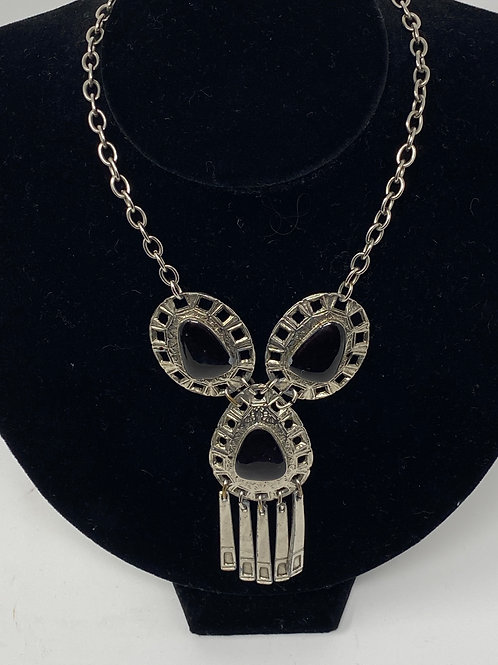 Vintage Necklace with Flat Stone and Fringe