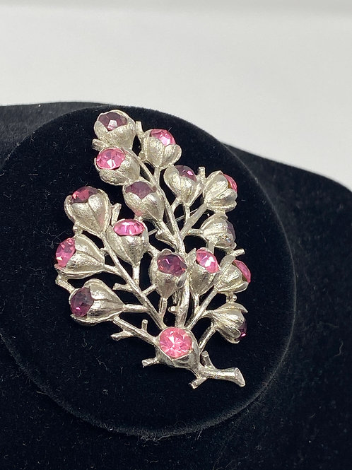 Sarah Coventry Pink and Purple Silver Tone Tree Brooch