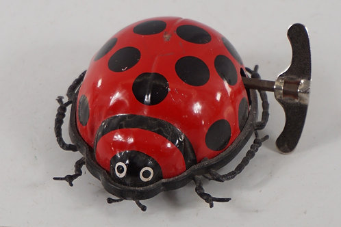 Windup Tin Ladybug Toy - Made In Hong Kong - Works