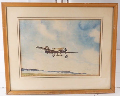 WWI I - U S Air Force Airplane Watercolor