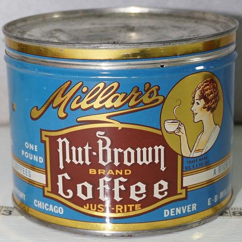 Millar's Nut - Brown Brand Coffee Tin