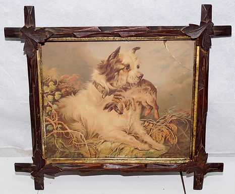 1870s Rustic cris-cross Victorian Picture Frame