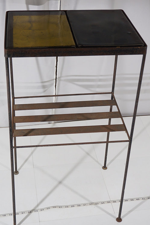 Wrought Iron Table With Colored Glass Panels
