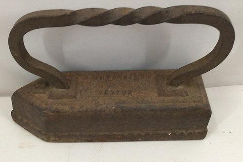 1800's Cast Iron Flat Sad Iron No. 13  with Twisted Handle