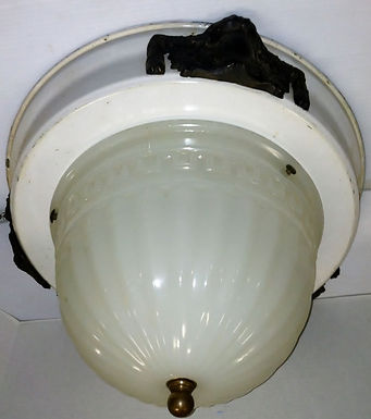 1920s Light Fixture with Porcelain Base and Milk Glass Shade
