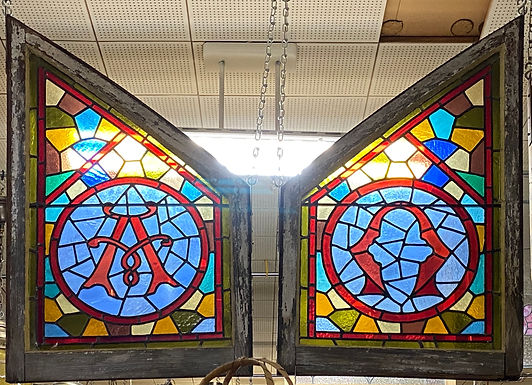Stained Glass Window Alpha and Omega