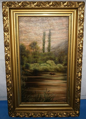 Oil Painting - Lake And Woods Ca 1900s By Victoria Norris