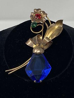 Art Deco 3-Stone Brooch