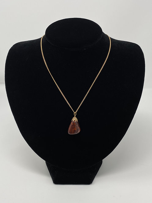 Polished Mahogany Obsidian Pendant Necklace
