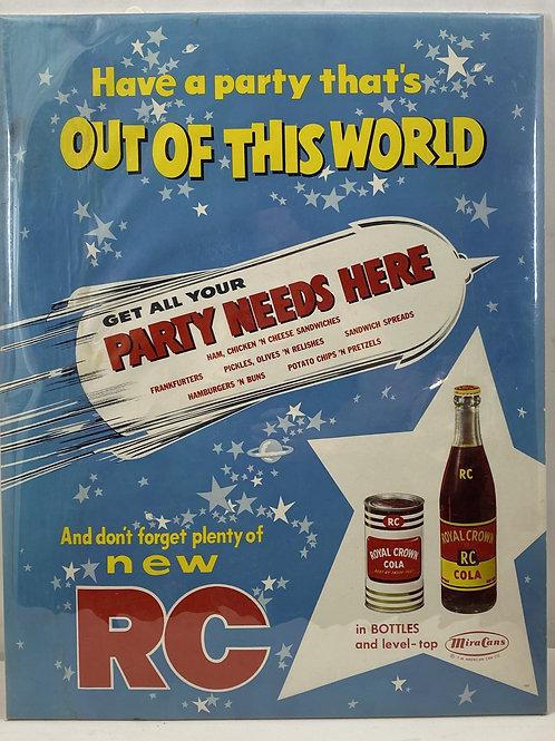 1960s RC Royal Crown Cola Cardboard Sign